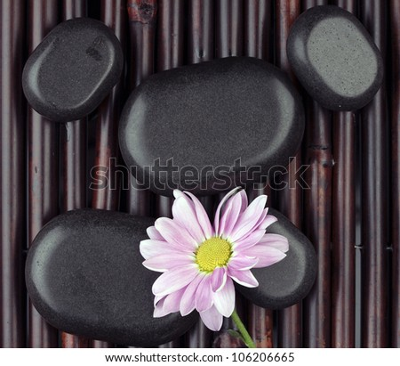 Spa stones and flower on bamboo mat - stock photo