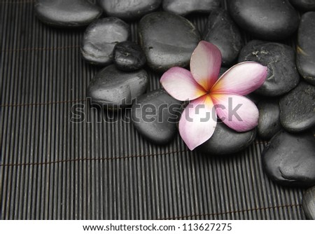 Spa stones and frangipani on mat - stock photo