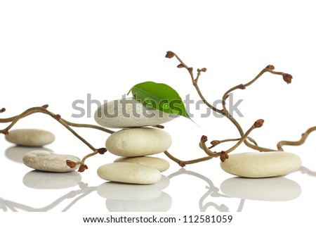 Spa stones and green leaf, isolated on white background. - stock photo