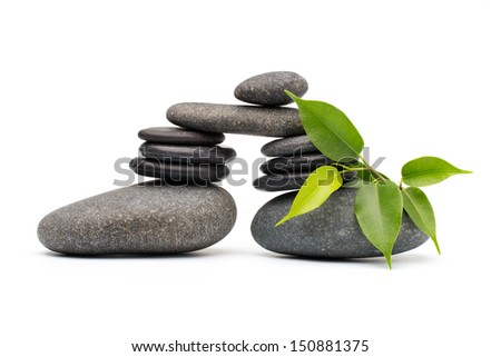Spa stones and leaf isolated background.