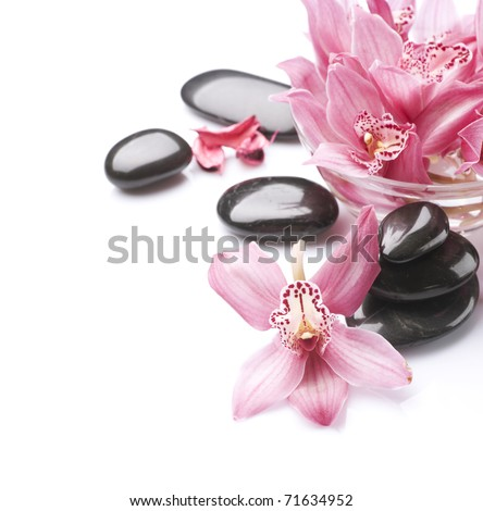 Spa Stones and Orchid flowers over white - stock photo