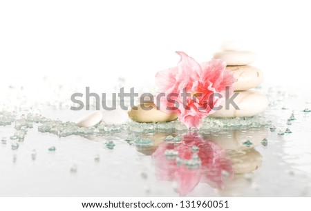 Spa stones and pink flower on white background - stock photo