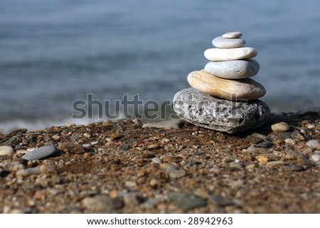 spa stones at the beach - stock photo