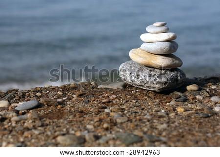 spa stones at the beach - stock photo
