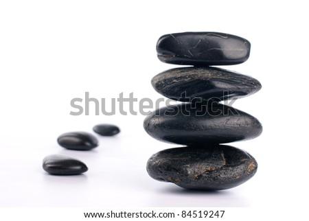 Spa stones on white background - stock photo