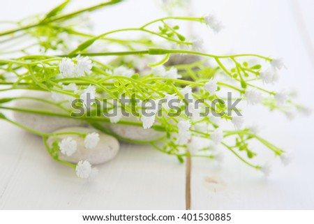 Spa stones on white wooden table background - stock photo