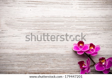 Spa stones on wooden background with orchids. - stock photo