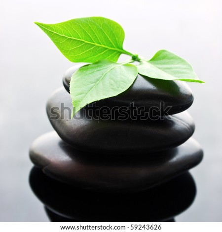 Spa stones stacked in perfect balance with leaf - stock photo