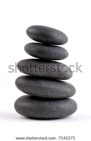 Spa Stones Stacked On On Top Of Another, Isolated Over White