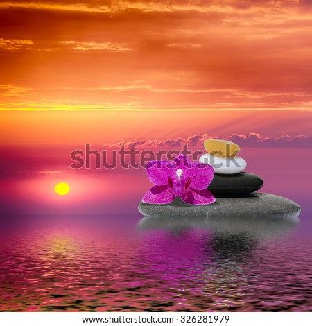 Spa stones treatment and orchid flower, zen like concepts - stock photo