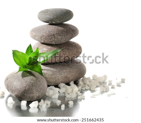 Spa stones with green leaves and sea salt isolated on white