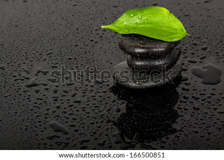 spa stones with water drops  - stock photo