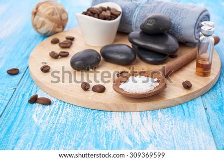 spa stuff on wooden background - stock photo