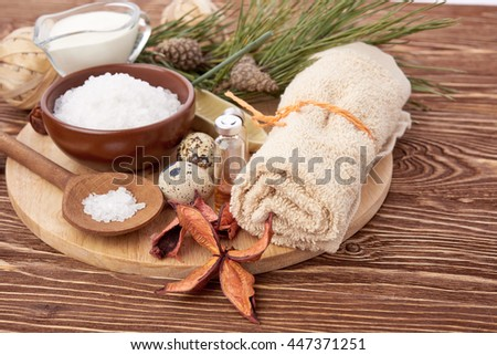 spa stuff on wooden background