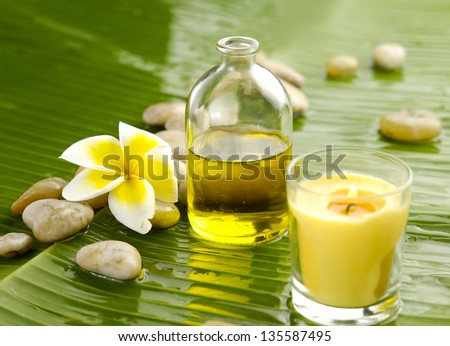 spa supplies with orchid .image of tropical spa. - stock photo