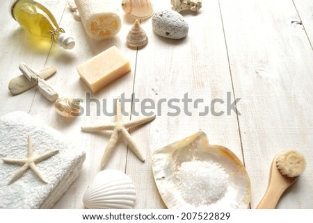 Spa supplies with shells.Image of spa,bath and body care.