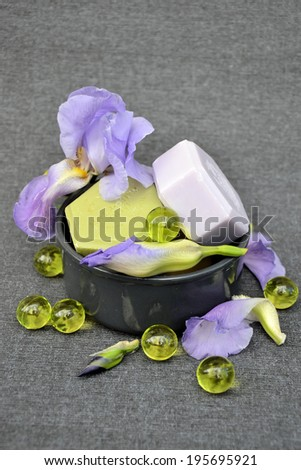 spa, the basic elements of aromatherapy with flower extracts - stock photo
