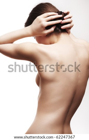Spa theme. Young beautiful woman with a sexy clean slim body and soft skin - stock photo