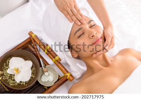 Spa therapist preparing skin of the client for the facial mask - stock photo