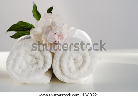 Spa towels with flower - stock photo