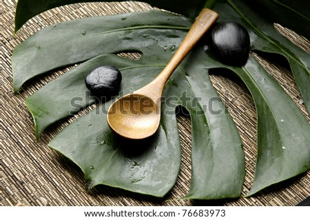 Spa treatment background-spoon and green leaf on bamboo mat - stock photo