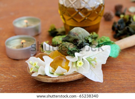 Spa treatment .beautiful spa background. Natural Cosmetics . Flavored Capsules - stock photo