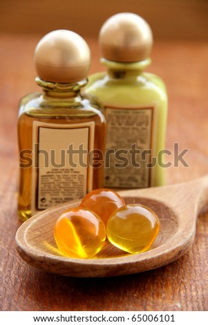 Spa treatment .beautiful spa background. Natural Cosmetics . Flavored Capsules,cream and shampoo - stock photo