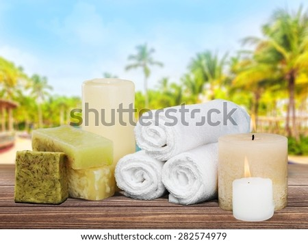Spa Treatment, Candle, Towel.