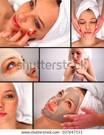 Spa treatment collage - stock photo