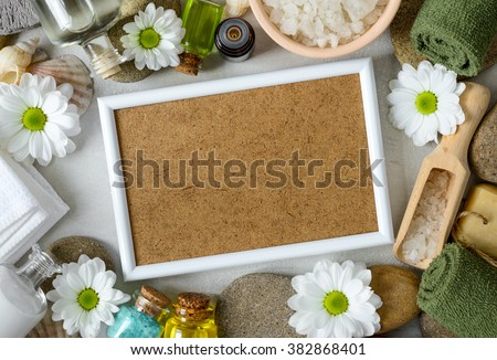 Spa treatment concept, there is a space in the frame for a text, top view - stock photo