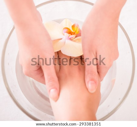 Spa treatment for hands. Luxury manicure concept. - stock photo