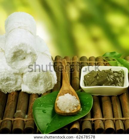 Spa Treatment.Mud Mask and Sea Salt - stock photo