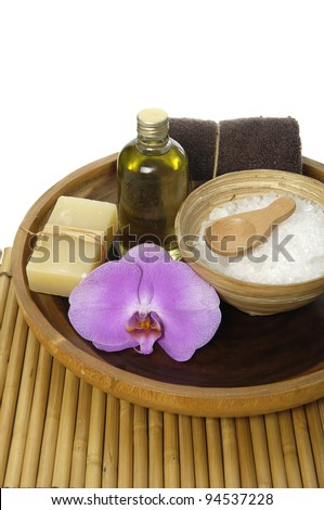 spa treatment on a bamboo mat. - stock photo
