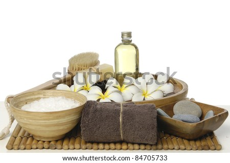 spa treatment on bamboo stick straw mat - stock photo