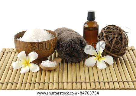 Spa treatment on bamboo stick straw mat - stock photo