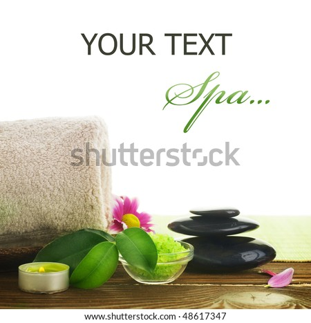 Spa treatment over white - stock photo