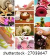 Spa treatment with aromatherapy, pedicure, manicure, massage, herbal tea, healthy fruit, meditation, and skincare - stock photo