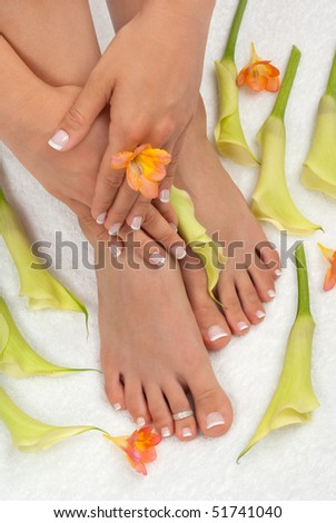 Spa treatment with beautiful lilies - stock photo