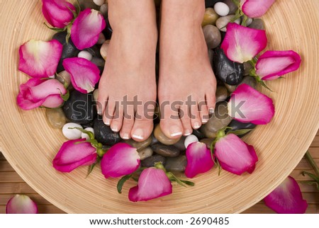 Spa treatment with fresh beautiful roses - stock photo