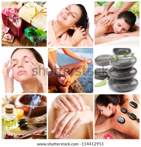 Spa treatments and healthy living. Collage of nine pictures. - stock photo