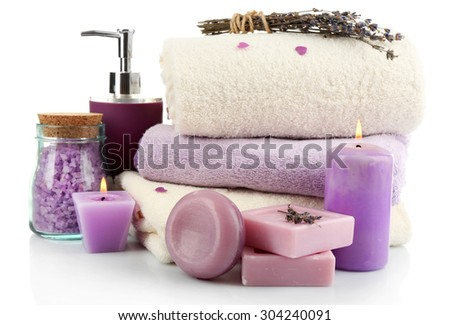 Spa treatments isolated on white. Lavender spa concept - stock photo