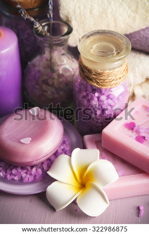 Spa treatments on colorful background.  - stock photo