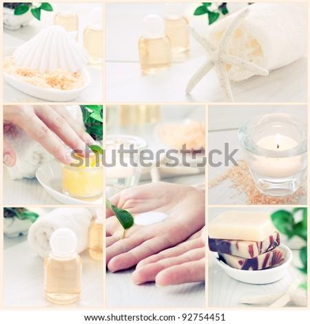 Spa & wellness series. Collage of manicure and beauty products. Shampoo, beautiful female hands, bath salt, candle,shampoo and skin cream - stock photo