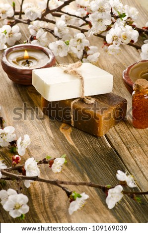 Spa with bar of handmade soap