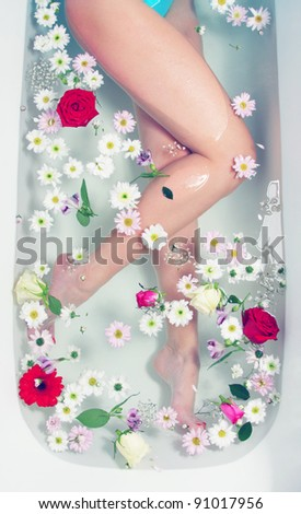 Spa with flowers - stock photo