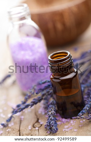 spa with lavender oil and salt - stock photo