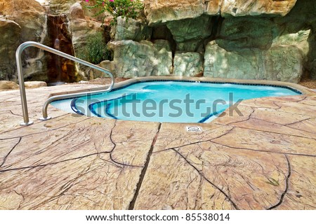 Spa with rocks in resort, Phoenix, USA, Arizona - stock photo