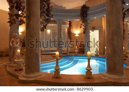 Spa with Roman Columns and statues - stock photo