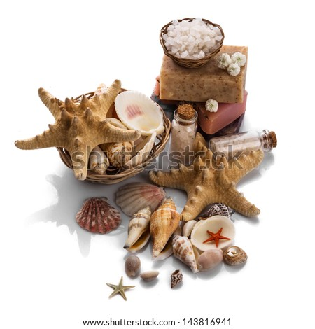 Spa with seashells isolated on white background - stock photo
