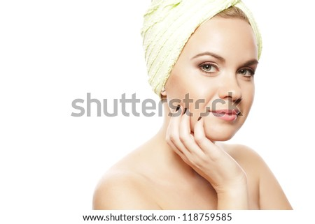 Spa Woman. Beautiful Girl After Bath Touching Her Face. Perfect Skin. Skincare. Young Skin. Studio Shot - stock photo